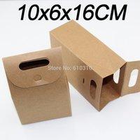 Wholesale Wholesale Handmade Goods - Free Shipping Fashion 10x6x16cm Natural Color Kraft Paper Box goods collection 50pcs Lot