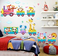 Animal Train Monkey Bird Tree Wandtattoo Abnehmbare Sticker Kinder Kinderzimmer Dekor
