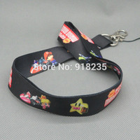 Wholesale Mario Cell Phone - Wholesale-Free Shipping New Super Mario Bros Cell Phone Charm Camera Keys ID Neck Lanyard Strap