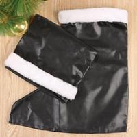 Wholesale Leather Santa Claus Boots - Wholesale-New Garment PU Leather Boots Santa Claus Shoes Boots Christmas Gift item for Men Black