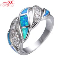 Wholesale Blue Sapphire Opal Ring - Wholesale-Wedding Finger Rings Lady's Men's Fashion Fine Jewelry Blue Sapphire AAA Zircon opal anel 18KT White Gold Filled Ring