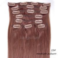 "Wholesale Extensions Clip Auburn 33 - 18""-26"" 80g 100g 120g 8pcs 33# Medium Auburn Clip in Hair Straight Brazilian Indian Peruvian Malaysian Virgin Remy Human Hair Extensions"
