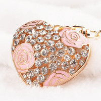 Wholesale Romantic Bags - Romantic loves' keyring Gold Plated Key Ring High Quality Rhinestone Charm Bag Pendant Rose Flower Hollow Heart Crystal Keychains