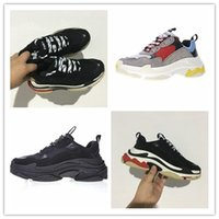 Wholesale Men S Leather Trainers - 2017 High Quality Unveils New Triple S Sneakers,High Fashion Spec Trainers,women&men Tripe-S retro Training Sneakers Shoes size 36-45