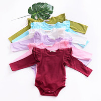 ingrosso 4t onesies-Ins Baby girl abbigliamento Onesies Pagliaccetto Flutter sleeve Carino solido Pagliaccetto manica lunga All-matched 2019