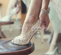 Wholesale Pretty Shoes - Bling Bling Flowers Wedding Shoes Pretty Stunning Heeled Bridal Dress Shoes Peep Toe White Lace Crystal Hand-crafted Prom Pumps