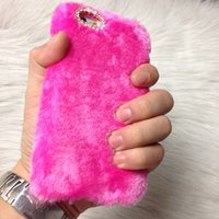 Wholesale Iphone 4s Cases Hair - HOT Rex Rabbit hair Diamond Cases Cover Plush Fur Protective Shell for Iphone 4S 5 5S 6 6s Plus 6plus Sumsang Note 2 3 4 S4 S5 S6 Christmas