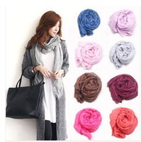 Wholesale Salomon Brand - Silk Scarves Solid color shawls all-match women's ultra long brand style winter scarf candy color cape salomon Spain bufandas