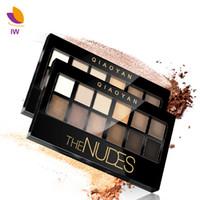 nackte augenpalette großhandel-Großhandel-Shimmer Matte Earth Color Lidschatten-Palette Make-up Nude Lidschatten 12Color Eyes Shadow Natural Naked Beauty Make-up Kosmetik