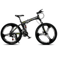 Wholesale Cross Mountain Bikes - 21 Speed High Carbon Steel Mountain Bike Fold Variable Speed Double Disc Road Bike Boys and Girls Cross-Country Bicycle Suspension