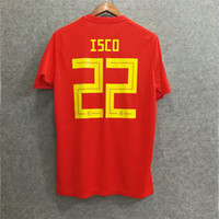 Wholesale big boys shirts - ^_^ Wholesale 2018 spain isco 22 soccer jersey custom name number asensio iniesta football shirts soccer uniforms big size XXL XXXL 4XL