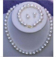 Wholesale Pearl 11mm - NEW ARRIVE AAA+10-11mm SOUTH SEA White Pearl Necklace  Bracelet  Earring Set 14k