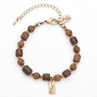 Wholesale Handmade Wooden Bracelets - Handmade Bohemia retro style contracted national wind bracelet natural wooden beaded strands bracelets women girls jewelry gift