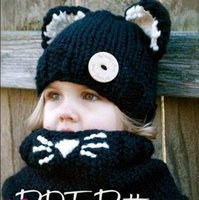 Wholesale Croche Hats - HUG ME Unisex Kids Boys and Girl 2016 New Design Cat Ear Winter warm Windproof Baby Hats And Scarf Set For Kids Boys Girls Croche Caps MC-92