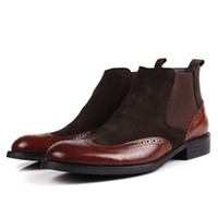 Wholesale Leather Riding Boots Men - Wholesale- 2016 New Fashion Suede Real Genuine Leather Formal Brand Man Wing Tip Ankle Boots Men's Dress Riding Chelsea Rubber Shoes GL421