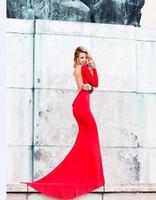 Wholesale Tarik Ediz Long Backless Dress - Tarik Ediz Red Carpet Evening Dresses 2016 Long Sleeves Backless Mermaid Slim Bodice Sexy Formal Designer Evening Gowns With Crystal Beaded