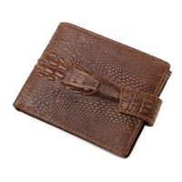 Wholesale Japan Style Head - Hot Sale Fashion Casual Business Leather Male Short Wallet High Quality Crocodile Head Design Double Happiness Credit Card Holder Wallet