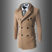 Wholesale mens slim fit down coat - Wholesale- 2017 New Mens Winter Coats Fashion Casual Classic Trenchs Fit Turn-down Collar Jackets Coats Free Shipping For male 755