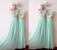 Wholesale Ling Dresses - Mint Green Cheap Long Bridesmaid Dresses Custom made 2016 Spring Maid of Honor Gowns A Ling V Neck with Shiny Sequins Party Dresses