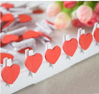 Wholesale Mini Red Wooden Pegs - 50pcs bag, Mini Wooden Red Heart Pegs Wedding Table Place Card Holders Craft Love
