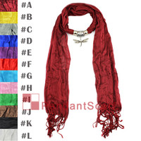 Wholesale Wholesale Scarf Necklace 12 - New Design Elagant Dragonfly Pendant Scarf Ladies Pashmina Solid Soft Necklace Tassel Scarf 12 Color Available, Free Shipping, SC0055MIX