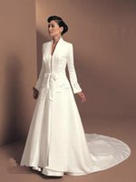 Wholesale Long Fabric Winter Coat - 2016Wedding Accessories Bridal Jacket Cloak Shaw Winter Coat With Satin Fabric Custom Made Cathedral Length White Long Sleeves Decoration