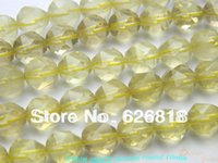 Natural 10mm Yellow Lemon Quartz irregulares facetada Encantos Rodada Limpar Atacado Crystal Bead pulseiras europeus Vendas