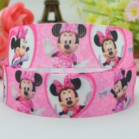 "Wholesale Grosgrain Ribbon Mice - Free shipping 7 8""22mm Minnie Mouse Pink Printed grosgrain ribbon,hairbow DIY handmade clothing materials wholesale OEM 50yards"
