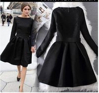 Wholesale Elegant Knee Length - Olivia Palermo Elegant Black Dresses Jacquard Long Sleeve Vintage Hoppen Style A-line Ball Gowns Lady Slim Midi Casual Dresses for Work