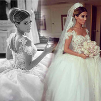 Wholesale Marriage Jewels - Modern Ball Gown Tulle Wedding Dresses Sheer Neck Court Train Puffy Lace Bridal Gowns Custom Made Robes De Marriage