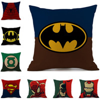 Wholesale memory movies - Multicolor 19 Designs Cushion Cover Hot Marchav Movie Hero Superman Iron Man Green Lantern Spider-Man Cotton and Linen Pillow Cover ED471