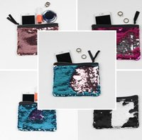 Wholesale Bag Cosmetic Coloured - Sequins Purse Gradient Color Mermaid Wallet 12 colors Christmas Festive Gifts Cosmetic Bag Change colour Coin purse Party Bags