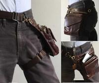 ingrosso borse a gambe-Borsello da uomo in vera pelle di vitello per esterno borsa da uomo in pelle da uomo Cintura da corsa in pelle e bicicletta
