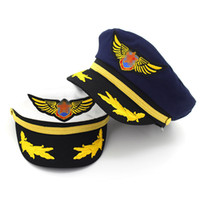 Wholesale navy uniforms women - Cotton Navy Hat Cap for Men Women Children Fashion Flat Army Cap Sailor Hat Captain Uniform Cap Boys Girls Pilot Caps Adjustable