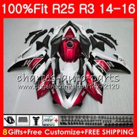 Wholesale Yzf Cowling - Injection Body For YAMAHA Red white YZF R 3 YZF-R3 YZF-R25 R25 14 15 16 Cowling 83NO1 R 3 YZFR3 YZFR25 R 25 R3 2014 2015 2016 Fairing Kit