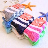 Wholesale Girls Thick Warm Socks - Fuzzy Socks Women Winter Warm striped High Quality Towel Candy Color Thick Floor Thermal Girls ladies Socks
