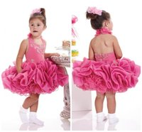 Günstige Organza Short Girls Pageant Kleid Halfter Backless Säugling gekräuselten Ballkleid Kinder Hochzeit Blumenmädchen Kleid Cupcake Little Girls 730