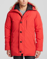 kukuletalı kışlık palto toptan satış-Kanada Chateaus Marka Erkek Veste Homme Açık Kış Jassen Giyim Büyük Kürk Kapşonlu Fourrure Manteau Aşağı Ceket Kaban Hiver Parka Doudoune