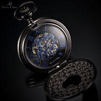 Wholesale Ks Hands - KS Antique Skeleton Blue Roman Numbers Dial Black Alloy Case Mechanical Hand Wind Male Necklace Clock Men Pocket Watch   KSP032