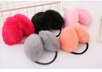 Mulheres Faux Rabbit Fur Earmuffs Meninas Cute Plush Foffy Ear Warm Muffs Lady Earlap Earmuffs Winter Thermal Ear Cover LY