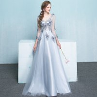 Wholesale New Girl S Pageant Dresses - New fashion prom quinceanera girls pageant dresses blue lace trumpet mermaid long sleeve long skirt Ball gown bridesmaid formal gowns