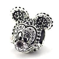 mickey bilezikler toptan satış-YENI 925 Ayar Gümüş mickey Köpüklü Portre Charm Boncuk Cz ile Avrupa Pandora Takı Bilezikler Kolye Kolye Uyar