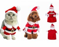 Wholesale Black Belted Dress Small - New Santa Claus Dog Costume Christmas Pet Dress Up Products With Hat Puppy Dog Cat Supplies Outwear Clothes Red Black Belt Coats