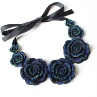 Barato Colar De Babador Azul Declaração-Atacado- FU Rose Necklace New Fashion Jewelry Big Resin Crystal Blue Flower Colares Pingentes Declaração Bib Chunky Choker Necklaces