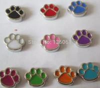 köpekler emaye takılar toptan satış-Vintage Emaye Mix Köpek Paw Prints Yüzer Bellek Lockets Için Alaşım Yüzer Locket Charms Kolye Takı 60 Adet Q588