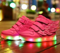Wholesale Stylish Kids Shoes - Free shipping Children Shoes Baby Shoes Kids Sneakers Baby Boys Girls Wings Stylish LED Light Luminous Child Sports Athletic Shoes