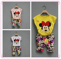 Wholesale Summer Set Minnie 2pcs - Summer girl children cartoon suit children Minnie printing short sleeve T shirt+pants 2pcs sets children's clothing C001