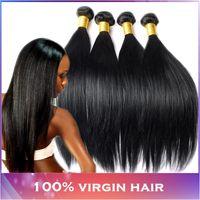 Wholesale European Hair Extentions - hair extentions brazilian1b Human Hair Unprocessed Peruvian Virgin Hair Straight Weave 3 bundles lot Pervian Hair Weft Forawme hair products