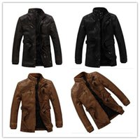 Wholesale Male Leather Wool Clothing - 2018 New Fashion Motorcycle Leather Jackets Men Autumn Winter Leather Clothing Men Leather Jackets Male Business casual Coats