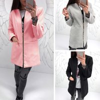 Wholesale Trench Coats Rounded Collar - Fashion short collar Women trench coat pocket zipper comfortable round neck zip long-sleeved long coat Women's Outerwear & Coats